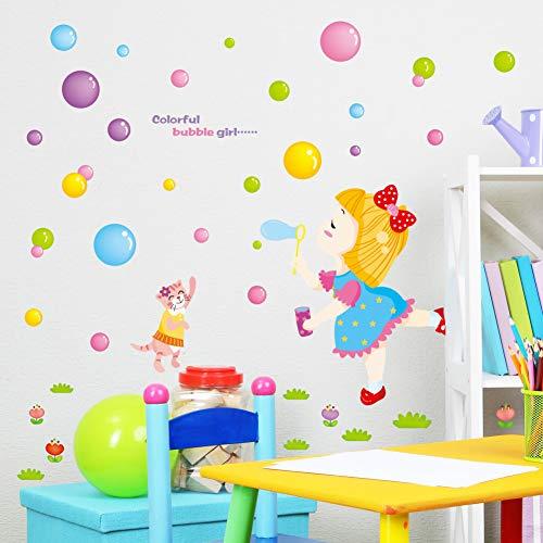 DIY Leuke Meisje Cartoon Kleur Bubble Ballon Muurstickers Stickers Baby Kinderen Kinderkamer Kwekerij Decoratie