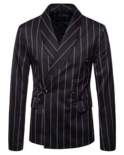 Yanlian Herren Blazer Casual Jacke One Button Slim Fit Geschäft Anzugjacken Schwarz S
