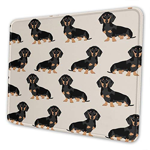 Mouse Pad Doxie Dachshund Weiner Dog Gaming Mat Customized Non-Slip Rubber Base Stitched Edges for Office Laptop Computer