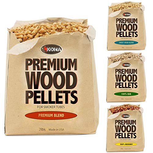 Kona Best Wood Smoking Pellets - Grilling Smoker Tube Pellets Variety Pack - 100% Hickory, Premium Blend, 100% Oak, Signature Sweetwood Blend - 2 Pound Bags
