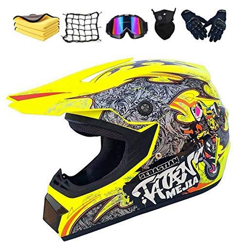Fullface - Casco de protección para motocross, dot certificed adulto, casco para niños con gafas, guantes y máscara, unisex (D,XL)