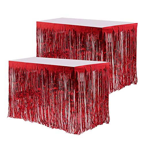 PiccoCasa falda de mesa metálica con flecos para fiestas de 80 x 108 pulgadas, falda de mesa borla, borla, para mesas rectangulares, paquete de 2