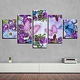 Impresiones En Lienzo 5 Piezas Cuadro Moderno En Lienzo Decoración para El Arte De La Pared del Hogar Mariposas coloridas brillantes flores púrpuras 150×80 Cm HD Impreso Mural (Enmarcado)