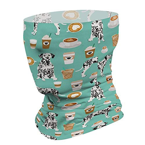 Dalmatians Cute Mint Coffee Best Dalmatian Dog Print Headbands Headwear Bandana Face Mask Cover Neck Gaiter Scarf Tube Sun Protection Cool Lightweight Windproof for Men/Woman Beach Bicycle Travel Fitn