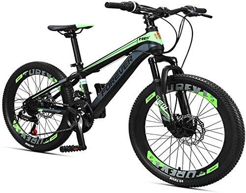 XinQing-Fahrrad Kinder-Mountainbikes, 24-Gang-Doppelscheibenbremse-Gebirgsfahrrad, High-Carbon Stahlrahmen, Jungen-Mädchen-Hardtail Mountainbike, 24 Zoll (Color : Green, Size : 24 Inches)