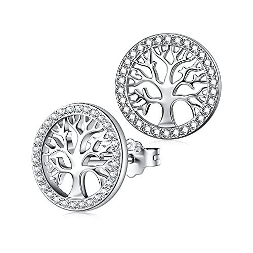 NINAWISH Pendientes de plata de ley para mujer Pendientes de botón con forma de árbol de la vida Pendientes de plata de ley para mujer Joyería Regalos para mujer Pendientes