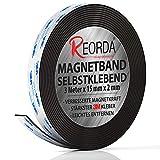 Reorda Cinta magnética - Tira magnética autoadhesiva con fuerza magnética optimizada | con aplicaciones versátiles y para cortar a medida | banda magnética adhesiva | Pizarra magnética