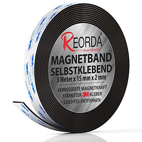 Reorda® Magnetband selbstklebend | Höchstmögliche Haftkraft durch stärksten 3M-Kleber | Magnetband mit...