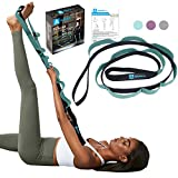 A AZURELIFE Stretch Strap with 11 Loops, Elastic Stretching Strap Band - Stretch Tool for Yoga Physical Therapy, Dance and Pilates, Gymnastics, Hamstring Strength Training with Instruction Guide