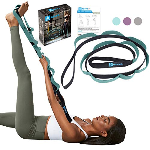 A AZURELIFE Stretch Strap with 11 Loops, Half Elastic Stretching Strap Band - Stretch Tool for Yoga Physical Therapy, Dance and Pilates, Gymnastics, Hamstring Strength Training with Instruction Guide