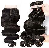 SingleBest Brésiliens Hair Bonnet Tissage Perruque Mèches Tissage Bresilien en lot avec Closure 10' 10' 10'