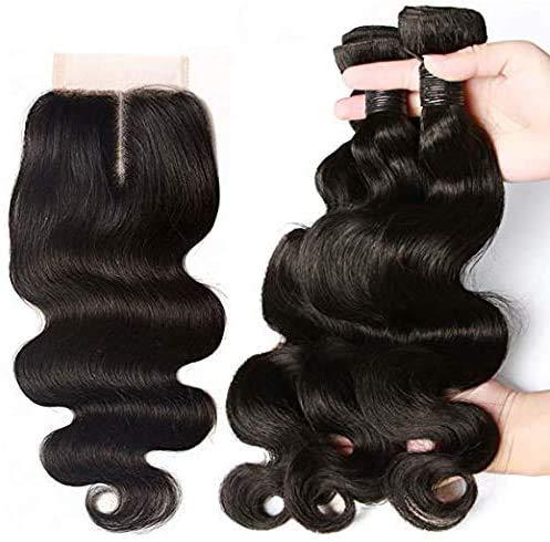 """SingleBest Brésiliens Hair Bonnet Tissage Perruque Mèches Tissage Bresilien en lot avec Closure 10"""" 10"""" 10"""""""
