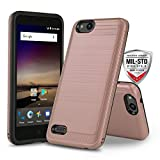Phone Case for [ZTE ZFIVE G LTE (Z557BL) / ZTE ZFIVE C LTE (Z558VL)], [Modern Series][Rose Gold] Shockproof Cover [Impact Resistant][Defender] (Tracfone, Simple Mobile, Straight Talk, Total Wireless)