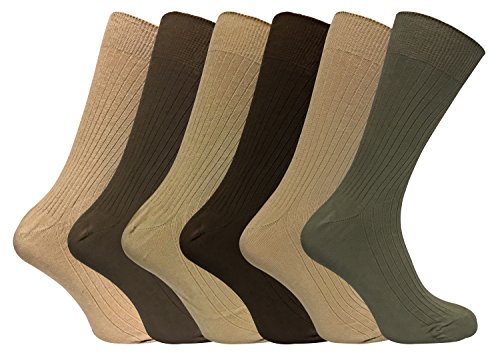 Mens 6 Pack Thin 100% Cotton Lightweight Black or Brown Ribbed Crew Dress Socks (SE002 Brown)