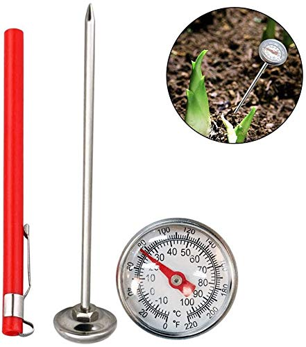 Pkfinrd RVS Bodemthermometer Dial Display 0-100 Graden Celsius Bereik 127Mm Stambodem Temperatuur Thermometer Tuin Bodem Zilver