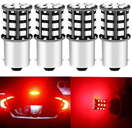 DEFVNSY - Pack de 4 - Rouge super brillant 1156 BA15S 1141 1003 7506 P21W 12-24V DC 2835 33SMD Ampoules LED pour Feux de freinage arrière Feux de freinage de Moto
