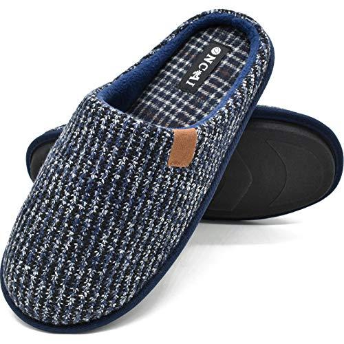ONCAI Zapatillas de Estar en Casa Hombre Tejer Invierno Cálido Pantuflas Alta Densidad Espuma de Memoria Zapatos con Antideslizante Suela Tallas 46