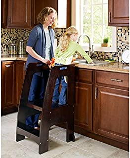 Guidecraft Kitchen Helper Tower Step-Up - Espresso: Adjustable Counter Height, Toddler Step Stool With Handholds for Little Children, Kids' Learning Furniture