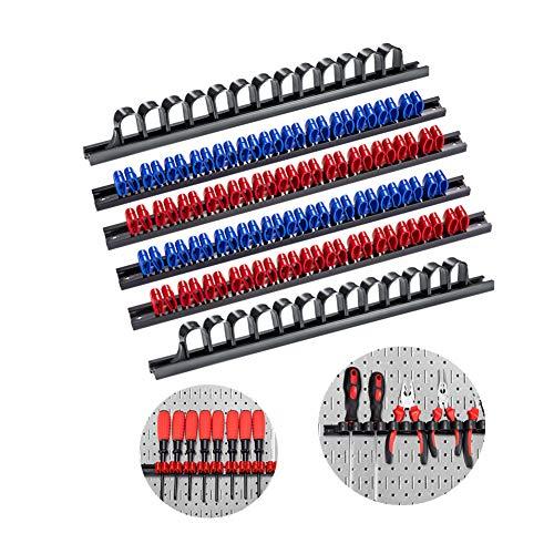3-H 6 Stück Schraubendreher-Organizer und Schraubenschlüssel, Organizer, Handwerkzeug-Halter, Werkzeughalter/Klammer-Leisten-Set schwarz/rot- Inkl. Schrauben und Dübel (2 Schwarz 2 Blau 2 Rot)