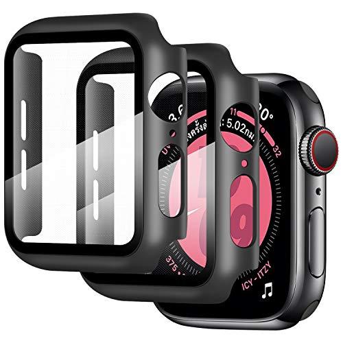 Qianyou 2 Packs Funda con Cristal Templado para Apple Watch 44mm Serie 6/SE/5/4, PC Funda y Vidrio Protector de Pantalla Integrados, Slim Cover de Bumper Compatible con iWatch 44mm, Negro+Negro