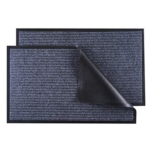 """LOCONHA Door Mat Outdoor Indoor (30""""x17"""")- 2 Pack, Waterproof Anti-Slip Durable Rubber Doormat Low-Profile Design Floor Front Doormat Rugs for Entryway,Patio,Garage (Grey)"""
