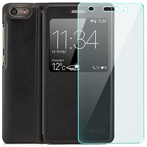 Zanasta Designs Saxonia Tasche + Bildschirmschutz Glas Huawei G Play Mini Hülle Case Schutzhülle Flip View Cover mit Fenster & Kameraschutz Schwarz