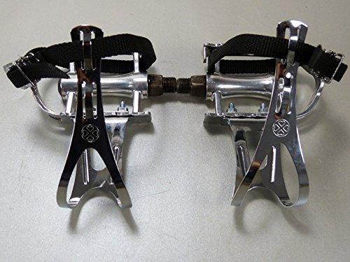 Retro Rennfahrrad Pedale mit Pedalhaken schlicht (Retro Pedalhaken mit einfachem Nylon-Riemen)