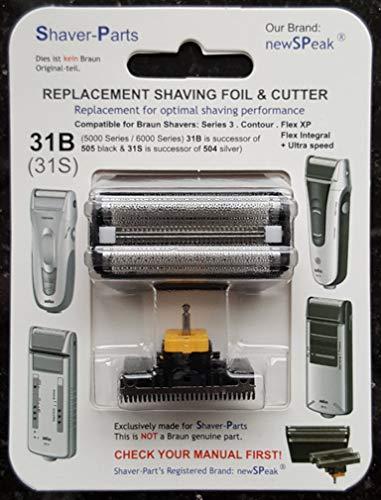 Alternative au rasoir électrique Braun et lame de coupe (lame) de remplacement 31B (505 noir)