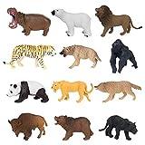 YIJIAOYUN 12 Piezas de plástico Educativo Animales del Bosque Juego de Juguete de Figuras para niños, niñas, Que Incluyen Leones, Tigres, gorilas, Pandas, panteras, Lobos