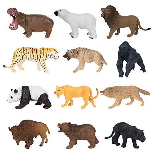 12 Stück Kunststoff pädagogische Waldtiere Figuren Spielzeug Set für Kinder Kleinkinder gehören Löwen, Tiger, Gorilla, Nilpferd, Panda, Panther, Eisbär, Braunbär, Wolf, Bison, Schakal, Löwen
