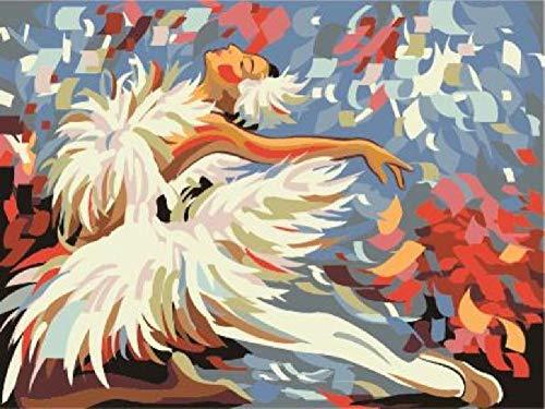 Doe-het-zelf digitaal olieverfschilderij danseres frameloos canvas hangend schilderij hoofddecoratiegeschenk, handgeschilderd moderne muurkunst 40 * 50 cm voor kinderen kinderen studenten beginners liefhebbers