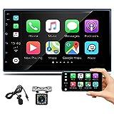 Radio de Coche 2 DIN CarPlay, Hikity 7 Pulgadas HD Pantalla Táctil Bluetooth Autoradio FM Mirror Link SWC con USB Puerto + Cámara de Visión Trasera