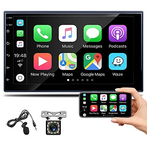 Autoradio Bluetooth 2 DIN Compatibile Con Apple CarPlay E Android Auto, Hikity 7' Full Capacitive Touch Screen Ricevitore FM Collegamento Specchio, Comandi Al Volante + Telecamera Di Backup