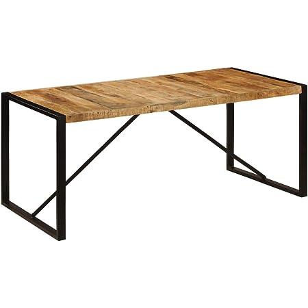 vidaXL Bois de Manguier Brut Table de Salle à Manger Table à Dîner Table de Repas Meuble de Salle à Manger Cuisine Maison Intérieur 180 cm