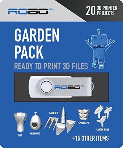 Robo 3D Certified Print Pak with 20 Garden Themed 3D Design Files
