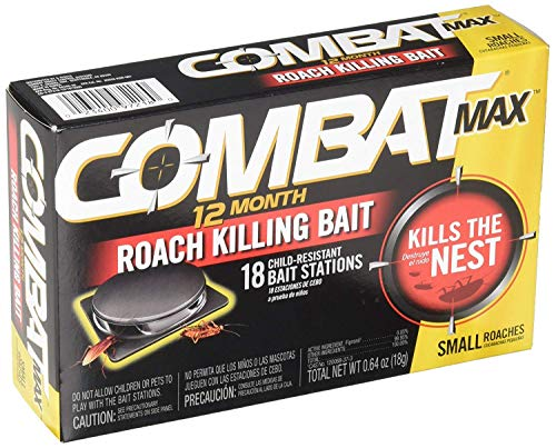 Combat Max 12 Month Roach Killing Bait, Small Roach Bait Station, Child-Resistant, 18 Count - 2 Pack