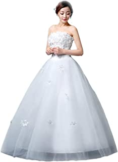 Bride Tube Top Lace Floral Wedding Dress Elegant Formal Party Fluffy Skirt Tulle Prom Gown beautiful