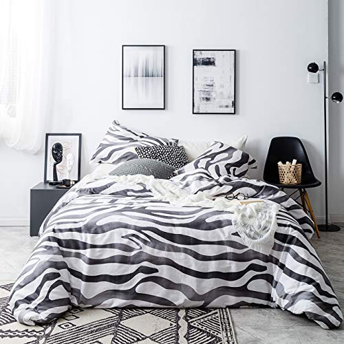 SUSYBAO Zebra Duvet Cover Set King Size 3 Piece Animal Print Bedding Sets 100% Natural Cotton Black and White 1 Duvet Cover with Zipper Ties 2 Pillowcases Premium Quality Soft Breathable Comfortable