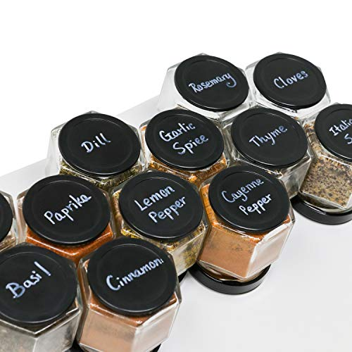 12 x 2 oz Strong Magnetic Spice Jars Glass Empty with Rewritable Bottom, Chalk Pen and Wall Mount Steel Board all included, to Create Your Own Spice Rack