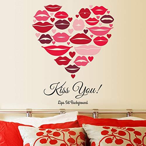 Wandaufkleber Dekorative Aufkleber Wand Dekoration Wandbilder Romantische Rote Lippen Kuss Sie Wand Aufkleber Hochzeit Dekoration Kunst Abziehbilder Wohnzimmer Wandbild Home Decor Liebe Tape