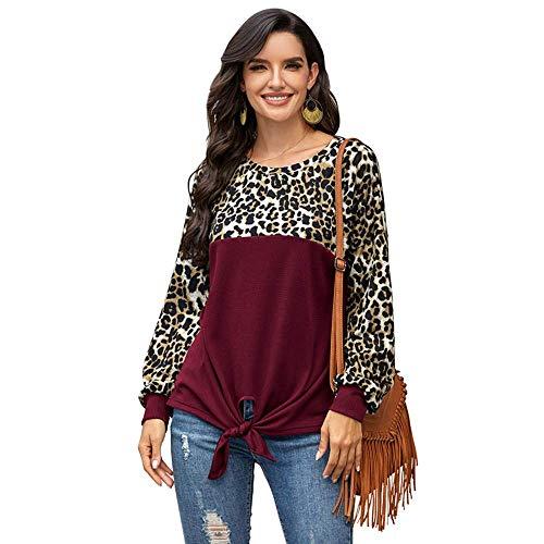 N/P Nueva Camiseta de Manga Larga de Leopardo Mujer O-Cuello Moda Streetwear Camiseta Tops Mujer Suelta Casual Plus Szie tee Shirt Femme