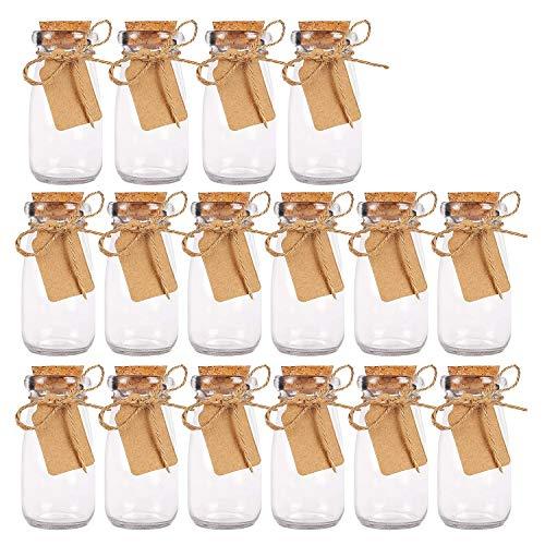 Vasetti Vetro Bomboniere (30pz) Bottigliette Vetro Tappo Sughero ed Etichette - Bottigliette Vetro 100 ml per Decorazioni, Matrimoni, Bomboniere - Bottiglie Vetro 100 ml Barattolo Vetro Tappo Sughero