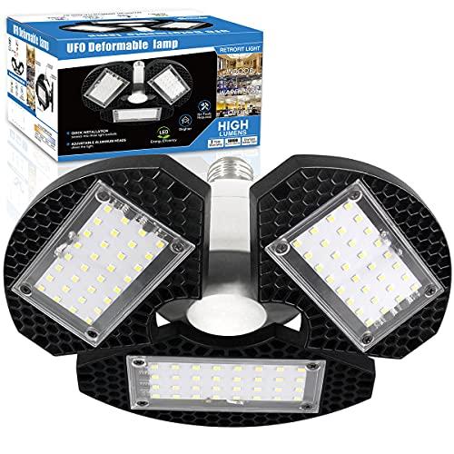 ZJOJO LED Garage Lights 60W Deformable LED Garage Ceiling Lights 7500LM Led Shop Lights for Garage Lights with 3 Adjustable Panels, Utility Led Garage Lighting No Motion Activated 60W1PK