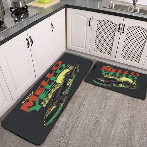 Cole Trickle Mello Yello Autoteppich-Set, wasserabsorbierend, Mikrofaser, rutschfest, für Küche, Badezimmer, Waschmaschine, 45 x 150 cm + 45 x 75 cm, 2-teiliges Set