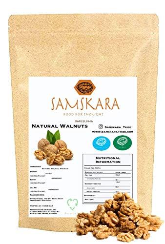 Nueces peladas Mitades 1kg | Nuez Calidad UE Premium | SAMSKARA | alto en Grasas saludables Omega 3 para cerebro