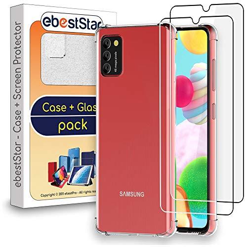 ebestStar - Funda Compatible con Samsung Galaxy A41 Carcasa Silicona, ángulos Reforzados, Ultra Claro Case Cover, Transparente + x2 Cristal Templado Pantalla [A41: 149.9 x 69.8 x 7.9 mm, 6.1'']