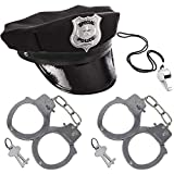 Police Accessories, Police Hat Party Cosplay Stage Cloth with Whistle & Handcuffs Costume Accessories for Kids, 4 PCS