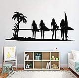 Zykang Surfing Girl Surf Vinyl Wall Decals para niñas Room Surfer Wall Stickers Calcomanía deportiva Tabla de surf Dormitorio Decoración Murales 100 * 42Cm