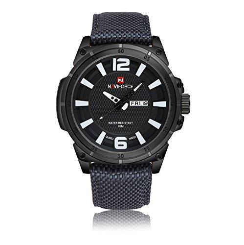 Naviforce Herren Analog Quarz Uhren Nylon Band Wasserdicht Sport Handgelenk Uhren für Männer (Weiß)