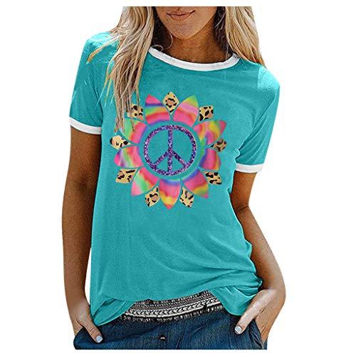 Beudylihy Damen Buntes Sonnenblume Bedruckt Blusen T-Shirts Frauen Sommer Tie-dye Kurzarm Tops Tee Tops(Grün,L)